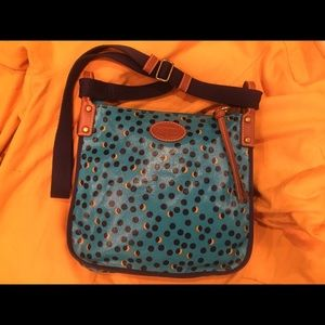 FOSSIL CrossBody Purse Colorful Navy & Yellow NICE